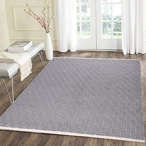HEBE Cotton Area Rug 4' x 6' Machine Washable Reversible Indoor Area Rug/Mat Hand Woven Cotton Area Rugs for Living Room, Bedroom, Laundry Room, Entryway (Rugs Wash Machine)