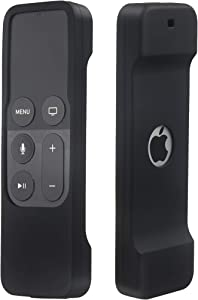 Remote Case Compatible with Apple TV 4K (5th) and 4th Generation, Auswaur Shock Proof Silicone Remote Cover Case Compatible with Apple TV 4th Gen 4K 5th Siri Remote Controller - Black