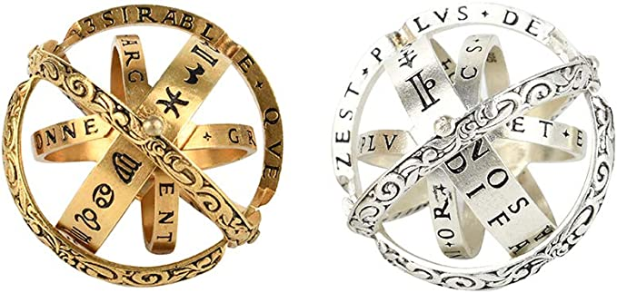 GULEHAY 16th Century Germany Astronomical Sphere Ring,Foldable Cosmic Ring with Luxury Hand-Carved,Unique Gift for Kids and Young
