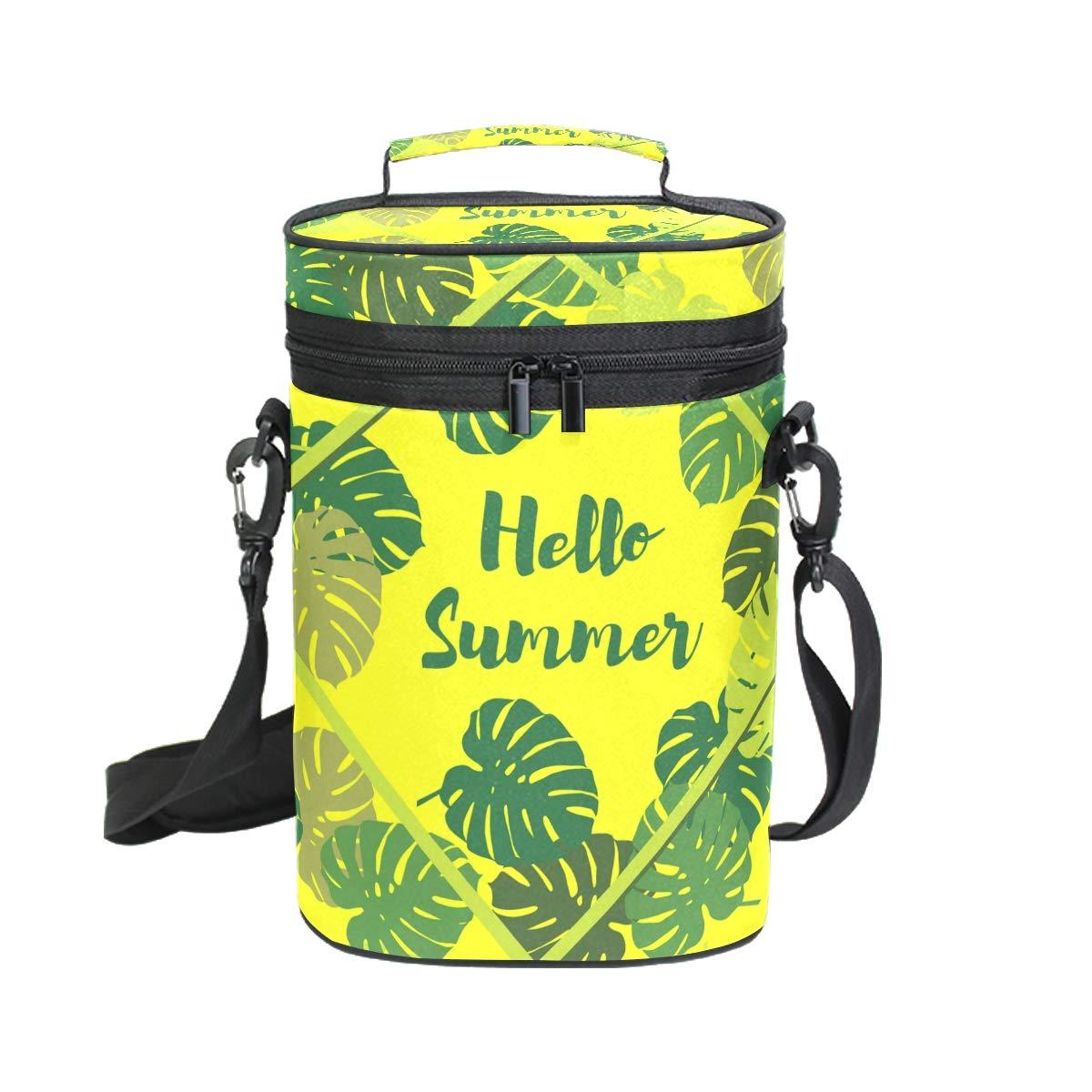 COOSUN Bolsa de vino con aislamiento y diseño tropical, 2 botellas, bolsa de viaje con asa y correa ajustable para el hombro