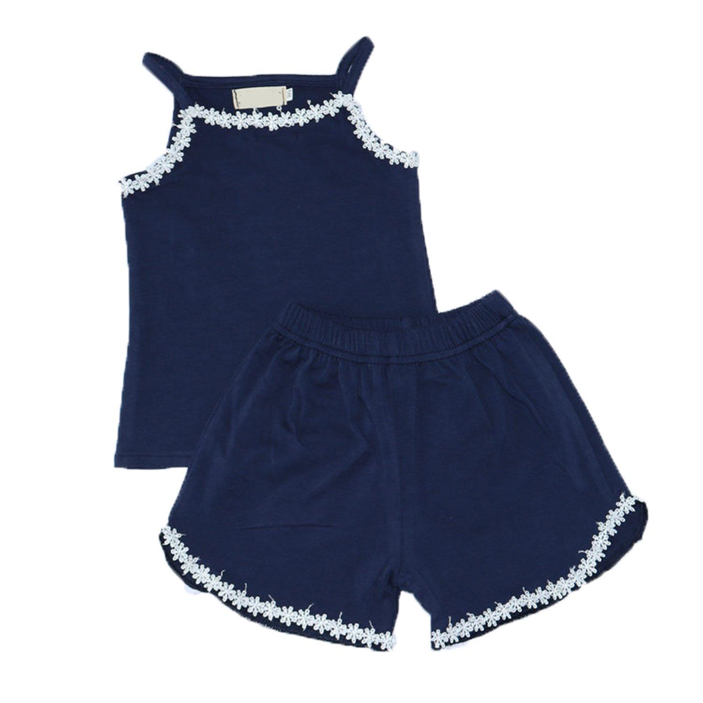 Wnitefg Little Girls' 2-Piece Summer Outfits Lace Sleeveless Shorts Set