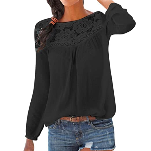 ece0b25b8d315 BCDshop Women Casual Long Sleeve Tops Lace Floral Patchwork T-Shirts Blouse  Summer Fall (