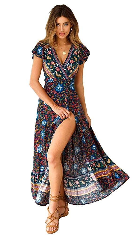 Mangotree Damen Kleider Boho Sommerkleid Wickelkleid V-Ausschnitt Maxikleid Strand Badeanzug Cover-Up Strandkleid mit Schlitz