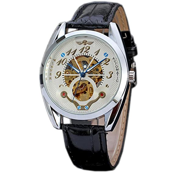 E-future WW109 - Reloj para hombres, correa de cuero color negro: Amazon.es: Relojes