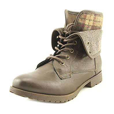 Womens Spraypaint Closed Toe Ankle Combat Boots Brown Size 7.0