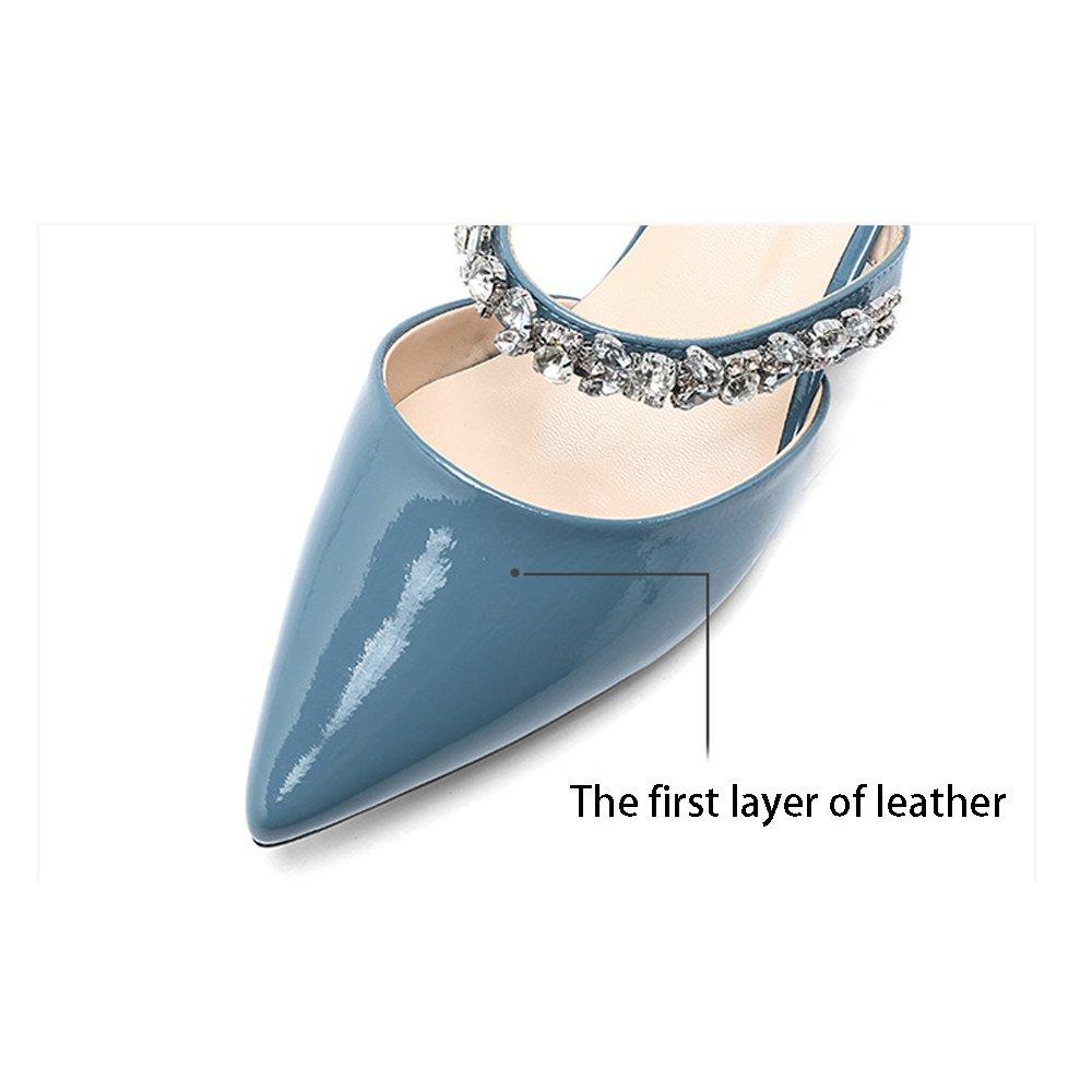 YXLONG Leder-Trend-Frauen Sandalen und Hausschuhe Sommer Europa Neue Europa Sommer und Die Vereinigten Staaten Mode Diamant-Beschichtung mit Spitzer Fauler Damenschuhe Blau 4bcc6c