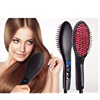 ISABELLA Ceramic Professional Electric Hair Straightener Brush with Temperature Control and Digital Display