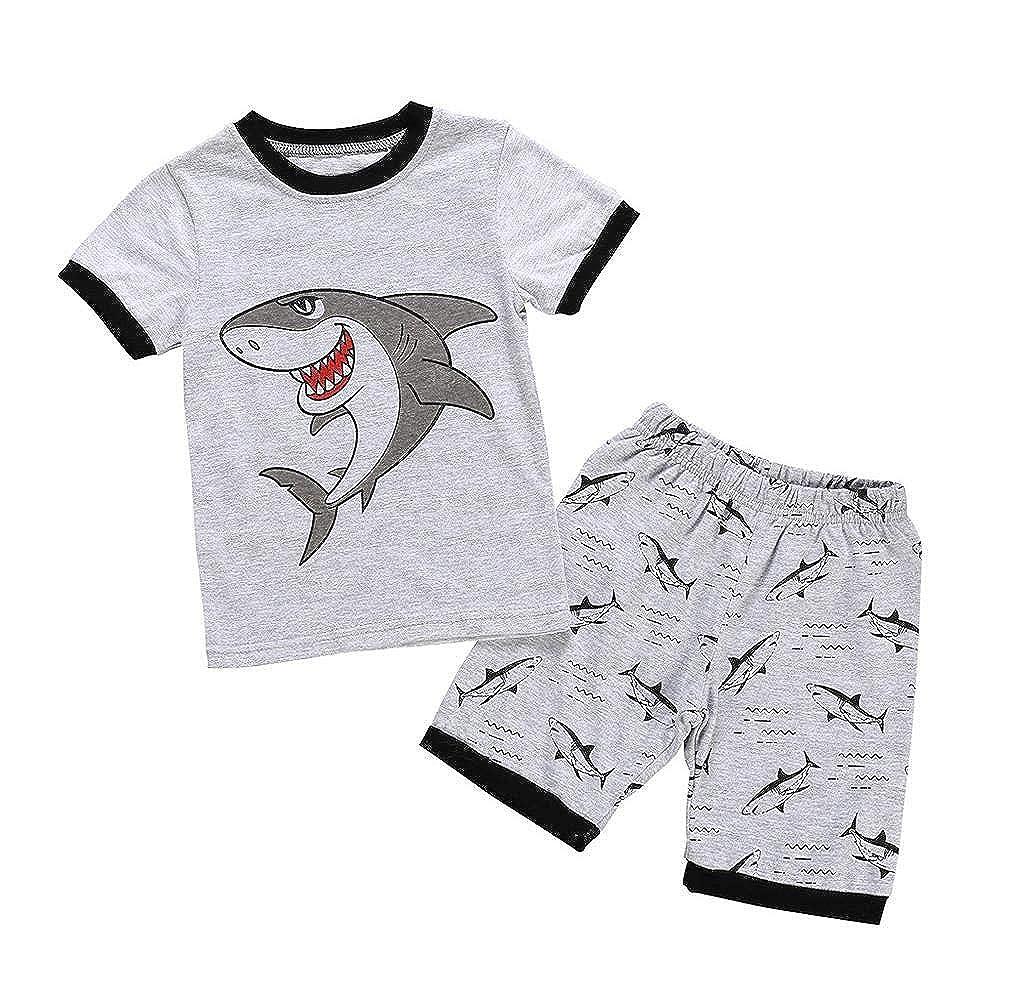 Jimmacke Tute Neonato 1-7 Anni Completo Bambino 2 Pezzi Set Estate Primavera Maglietta Manica Corte Pantaloncini Stampe Cartoon Shark Stampa Camicia T-Shirt Cotone Ragazza Ragazzi