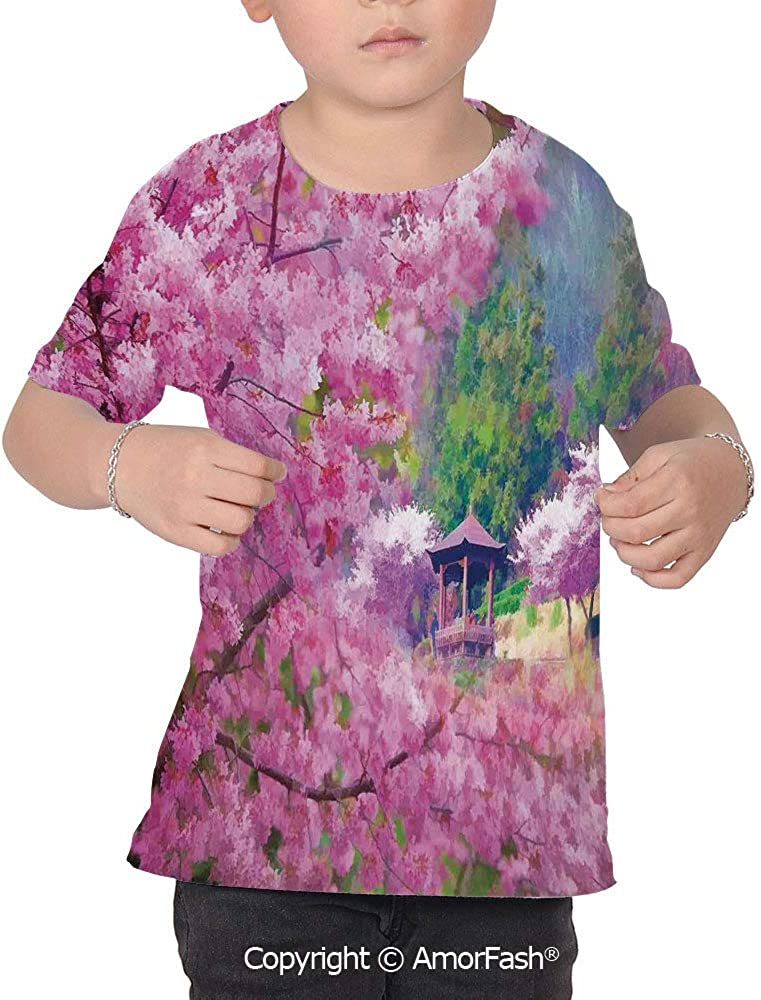 House Decor Childrens Classic Basic Printed Ultra Comfortable T-Shirt,Landscap