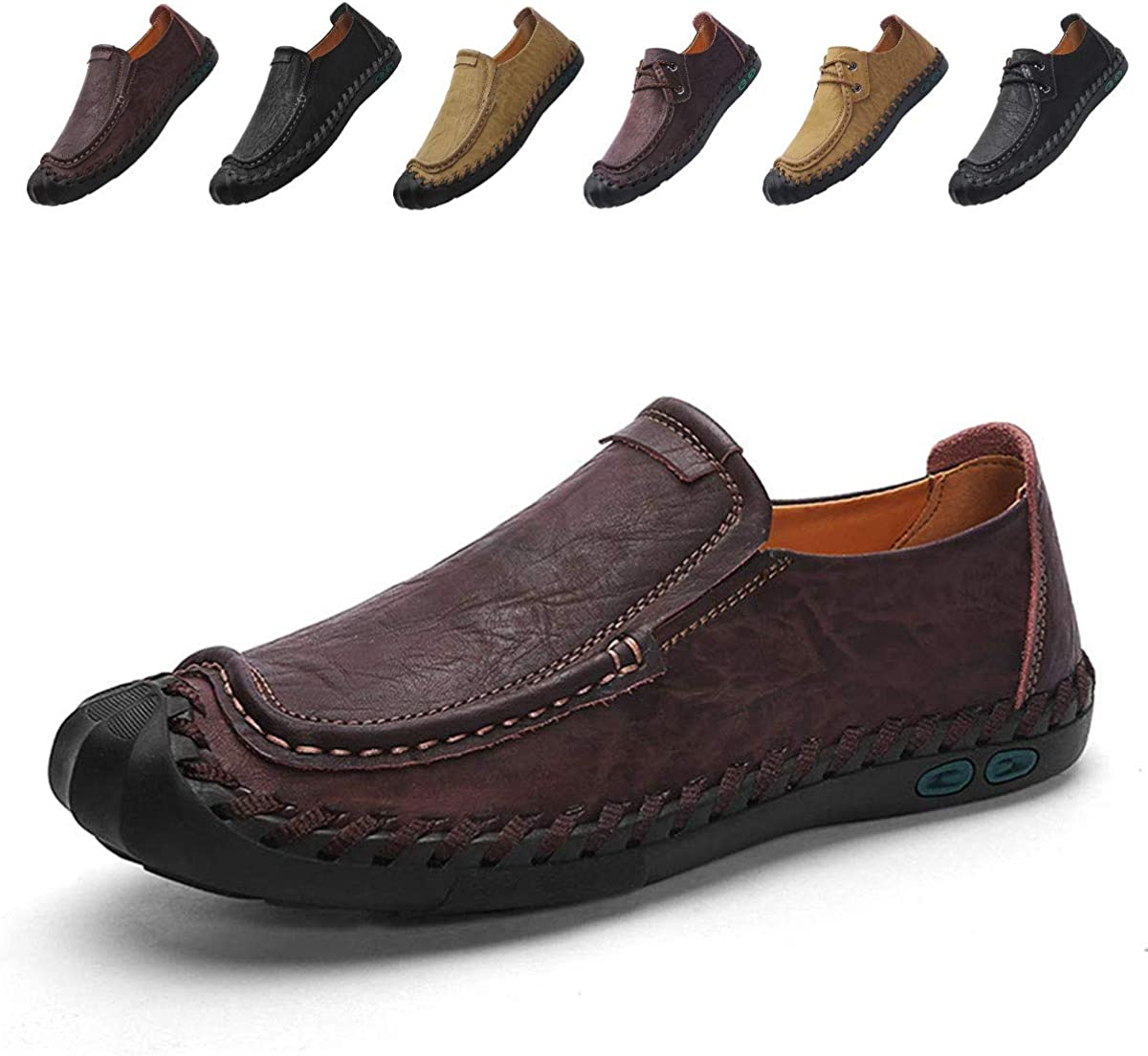 Elegdy Mens Loafers Shoes Slip-on Soft Sole Lined Oxfords Large Dress Shoes