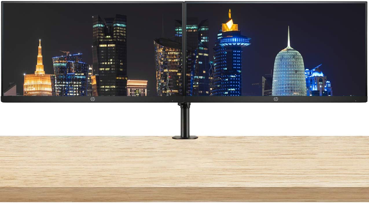 HP P244 23.8 Inch IPS LED Backlit Monitor (5QG35A8#ABA) 2-Pack Display Bundle with Fully Adjustable Dual Monitor Stand and Desk Mount Clamp