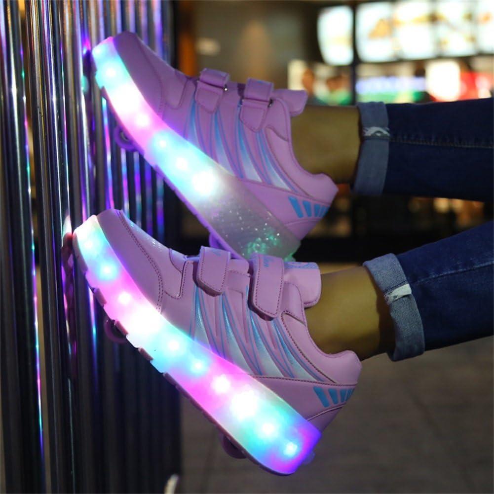 Ufatansy USB Charging Shoes Roller Shoes Girls Roller Skate Shoes Boys Kids LED Light up Wheel Shoes Roller Sneakers Shoes Wheels for Kids Best Gifts