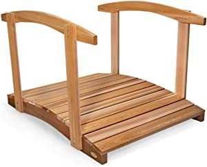 All Things Cedar FB48-R Garden Foot Bridge with Hand Rails, 4'