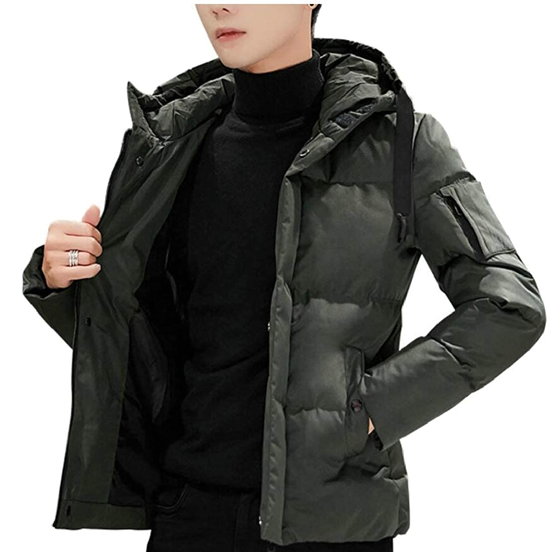 M/&S/&W Mens Hooded Zip Front Quilted Cotton Padded Puffy Coats Jackets
