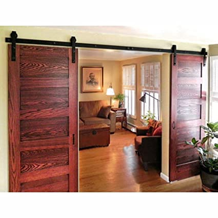 WINSOON 8FT Antique Double Sliding Barn Door Hardware Roller Track Kit  Black, 4-18FT - Amazon.com: WINSOON 8FT Antique Double Sliding Barn Door Hardware