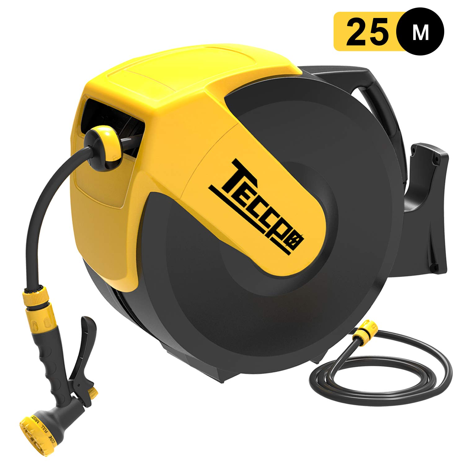 Any Length Lock Wall-Mounted Hose Reel Rotating 180° -TAR001G 25m TECCPO Hose Reel 2m Auto Reel Safe and Slow Retraction with 7 Modes Hose Spray Gun