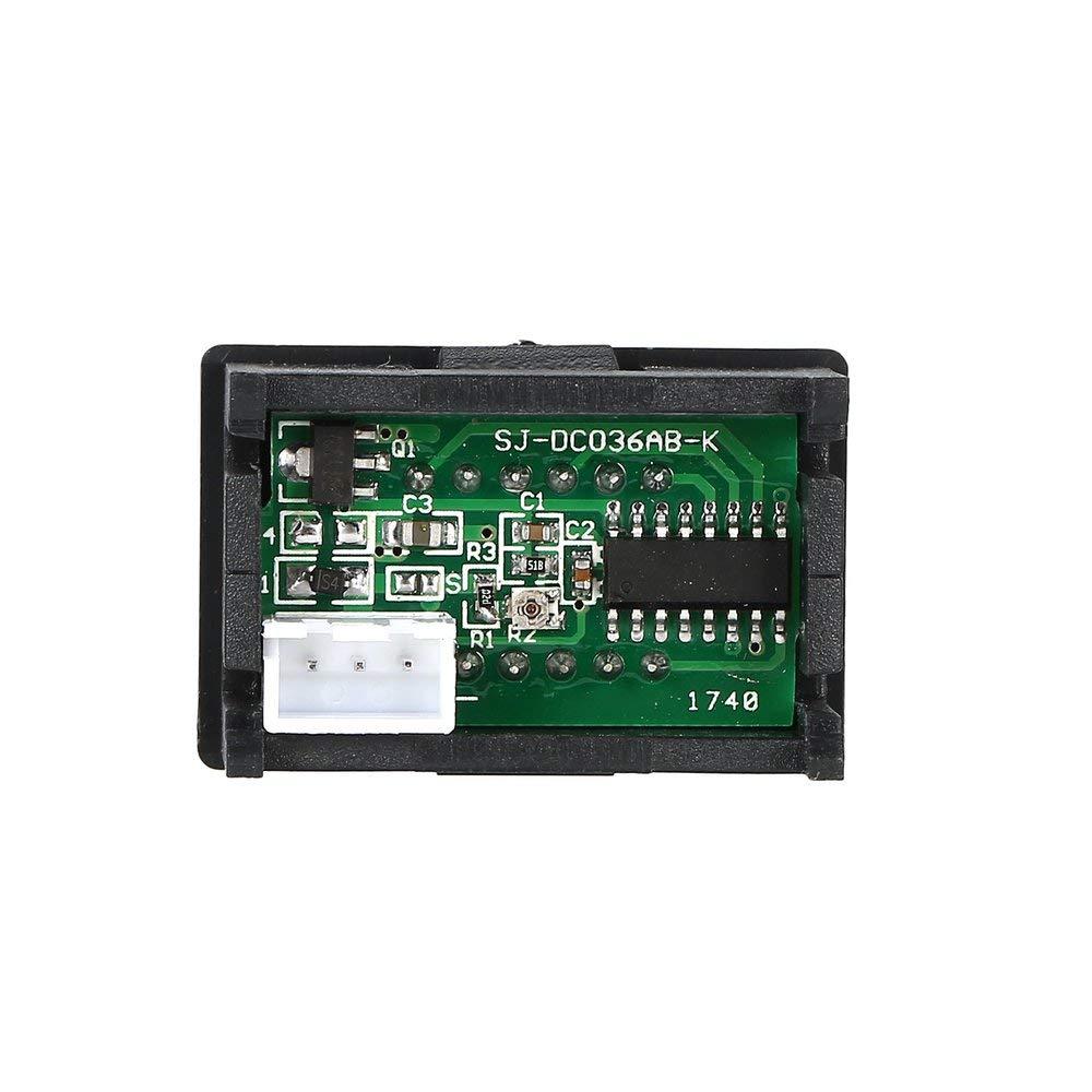 2PCS 0-100V 0.36in 3 cables Panel de pantalla digital LED Volt/ímetro Medidor de voltaje el/éctrico Volt/ímetro Probador Auto Bater/ía motocicleta para autom/óvil Negro