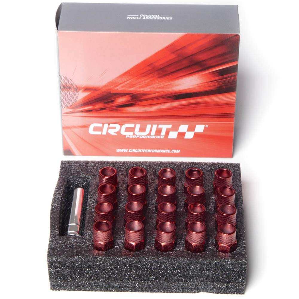 12x1.25 Red Tool 20 Piece Set Circuit Performance Forged Steel Extended Open End Hex Lug Nut Aftermarket Wheels