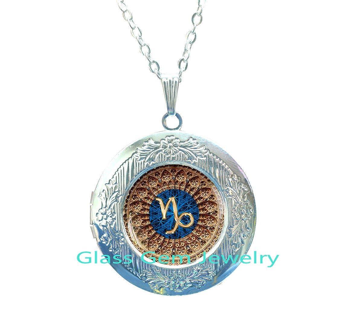Zodiac Sign,Q0108 Capricorn constellation Locket Necklace Capricorn Zodiac Locket Necklace Capricorn Locket Pendant Capricorn Zodiac Jewelry