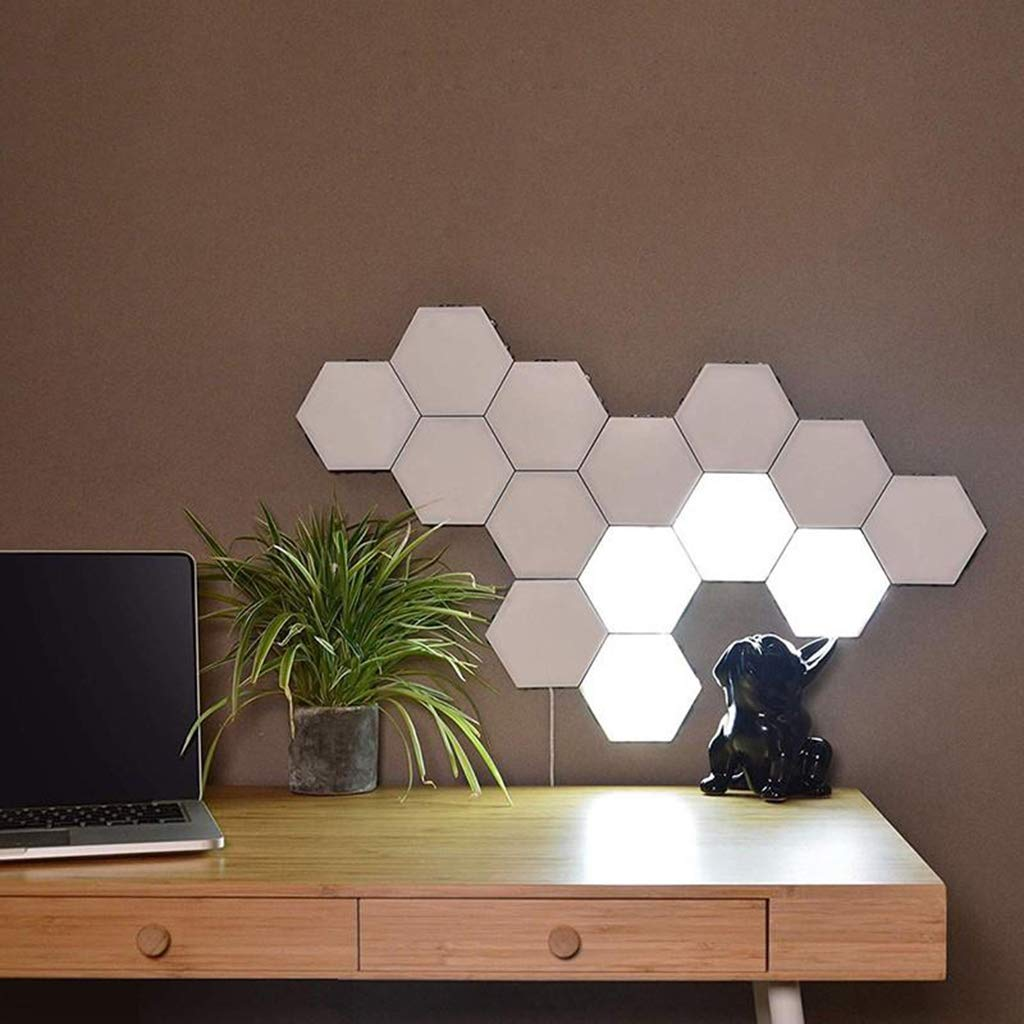 Junphsion Creative Honeycomb Quantum Touch Splicing Wall Lamp DIY Combination to Any Different Patterns Logo, Quantum Lamp Private Design on The Wall,10Pcs