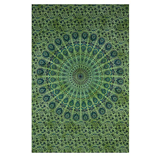 Indian Wall Decor Hippie Tie Dye Green Tapestries Bohemian Mandala Tapestry Wall Hanging Throw ()