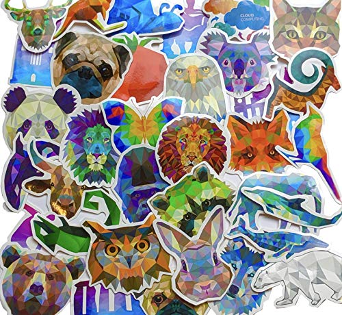 Water Bottle Stickers 35 Pack - Trendy/Cute/Aesthetic/Cool Animal Decals - Car/Bike/Helmet/Laptop/Vinyl/Phone/Skateboard/Bumper Decal - Adults/Teen/Girl/Boy Travel Sticker Packs - Small Stick - Vinyl Boy