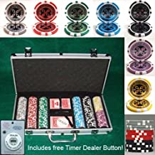 300 Casino Grade Ultimate Poker Chip 14 gram Poker Chips w/ Free Timer Dealer Button. Premium Composite Clay Poker Chips, Includes Aluminum Case.