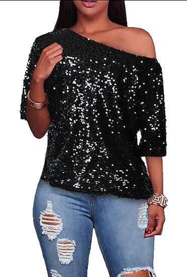 4a2eb834518c83 ARTFFEL-Women Sequins One-Shoulder Short Sleeve Casual T-Shirt Top Blouse  Black