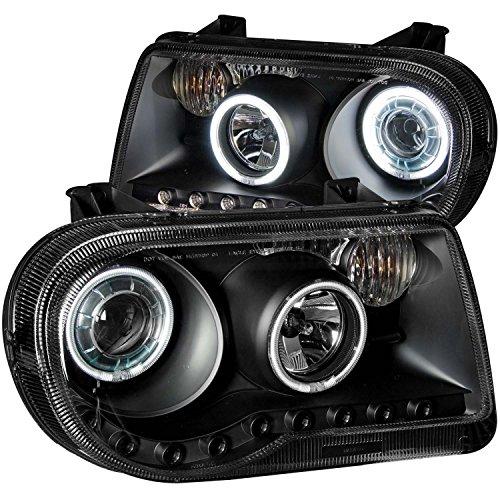 Chrysler 300C 05-Up Projector Headlights G2 Halo L.E.D Black Clear Ccfl W/O Hid + 8 Led Fog Bumper Light