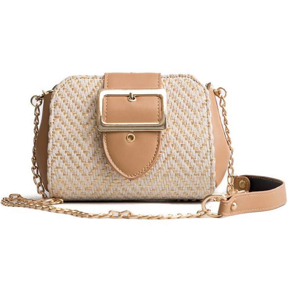 6f47d490b502 Amazon.com  Women PU Leather+Straw Stripe Handbags Purse Women Woven Beach  Bag Beige  Sports   Outdoors