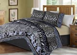 GorgeousHome African Wild Jungle Animals Bedroom Printed Quilt Bedspread Pinsonic Bed Dressing Bedding Cover 2/3pc Set in 3 Sizes Assorted (ANIMAL #6 STRIPE MOSAIC, QUEEN)