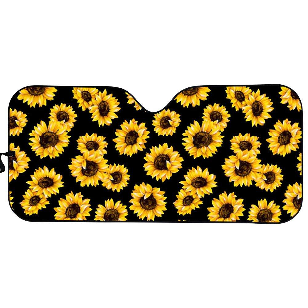 HUGS IDEA Car Windshield Sun Shade Fashion Animal Butterfly Pattern Foldable Car Front Window Sunshades for Most Sedan SUV Truck