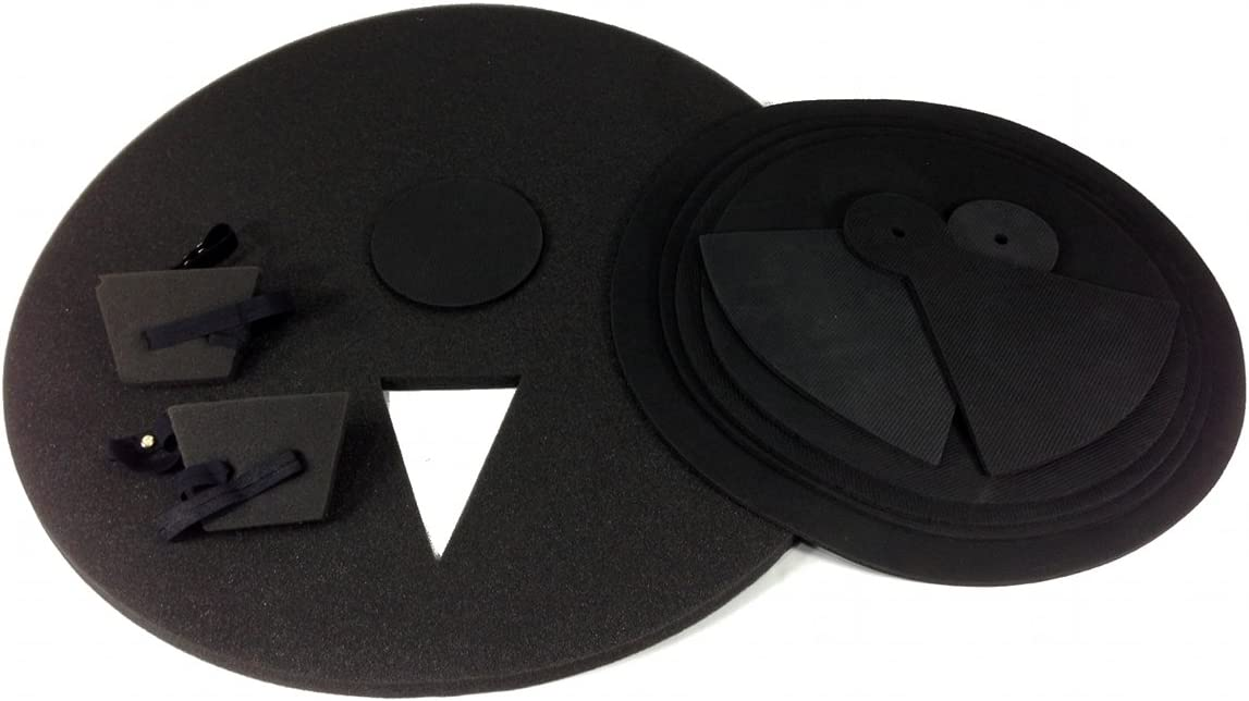 9 Piece DRUM PRACTICE PADS - Silent Black Foam Quiet 9-pcs Covers NEW SET
