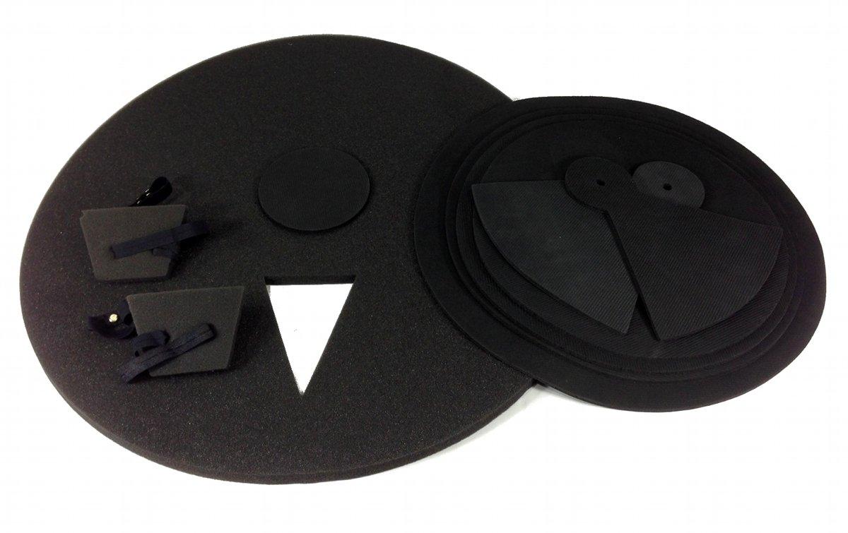 9 Piece DRUM PRACTICE PADS - Silent Black Foam Quiet 9-pcs Covers NEW SET by EDMBG