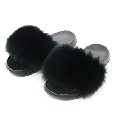 0f42fd20654 Image Unavailable. Image not available for. Color  Woman Fur Slides Fluffy  Slippers Female Indoor Flip Flops Women ...
