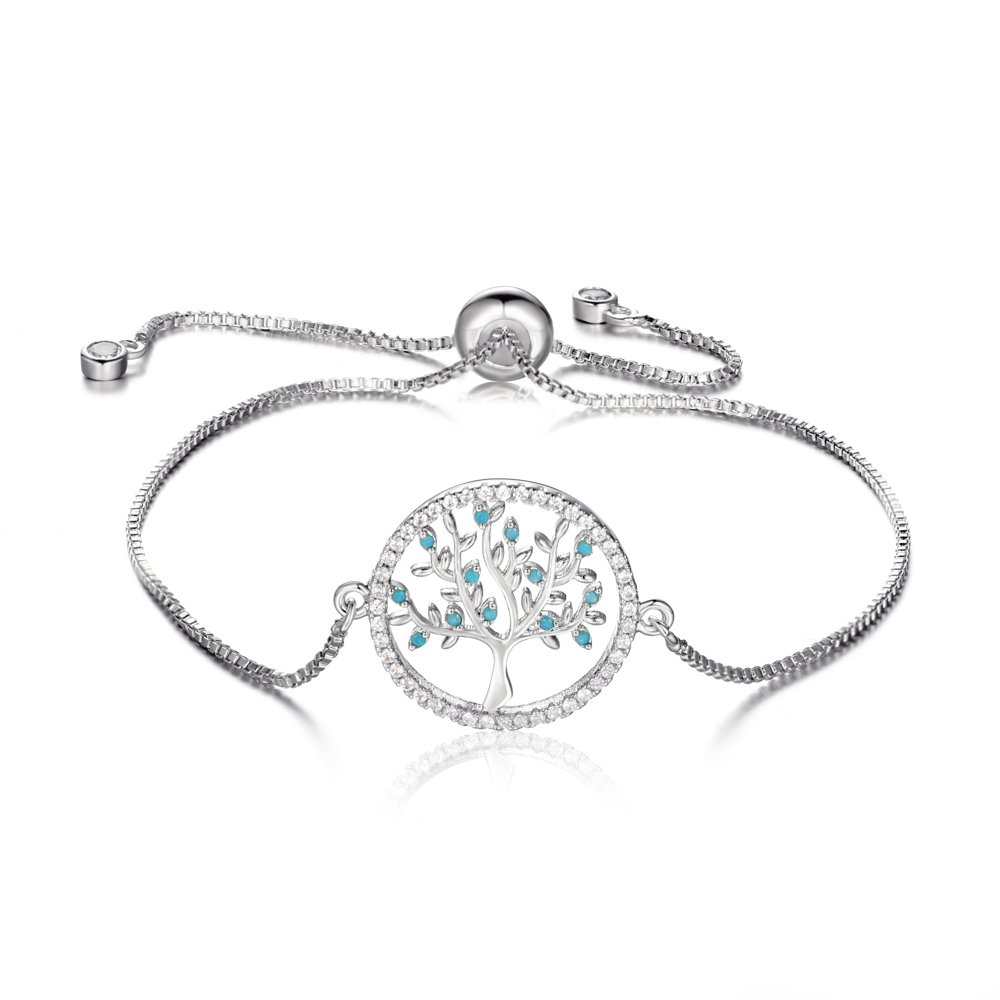 Buyless Fashion SS Tree of Life Bracelet with Drawstring Adjustable Closure -for Woman Teen's and Girls-BLTTR1SLV
