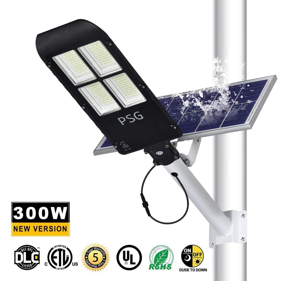 300W Solar Street Lights Outdoor Lamp, 480 LEDs 12000 Lumens, with Remote Control,Light Control, Dusk to Dawn Security Led Flood Light for Yard, Garden, Street, Basketball Court by PSG