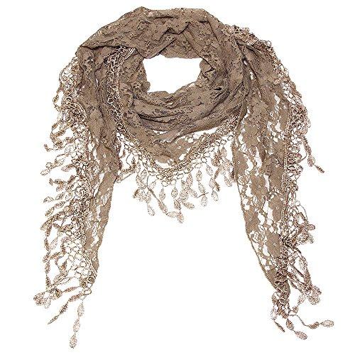 Scarf Khaki - Falari Vintage Women Lace Scarf With Fringes Polyester 50-YH26-47-KHAKI