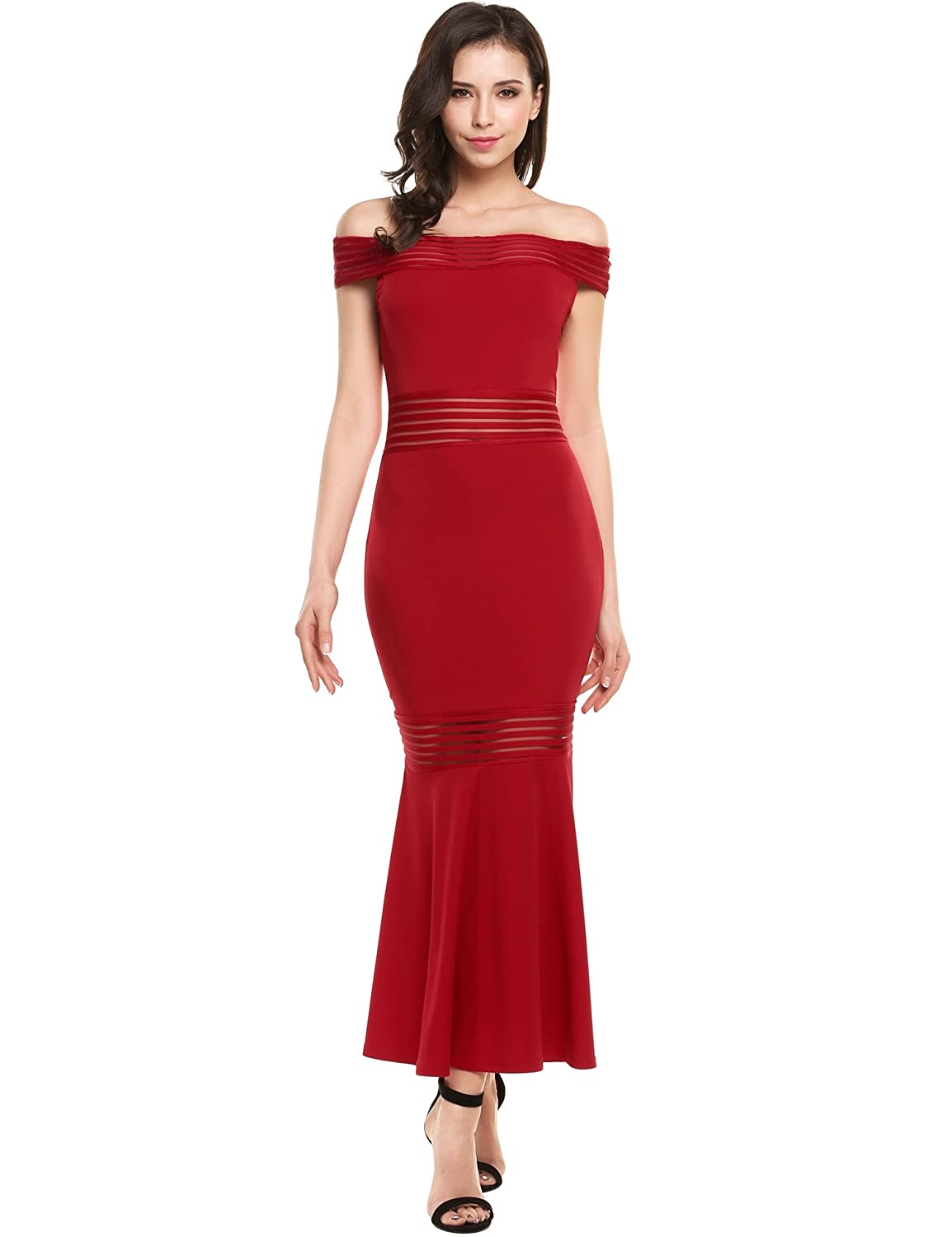 Meaneor Women's Off Shoulder | Boat-Neck Mermaid Bodycon Maxi Long Evening Dress