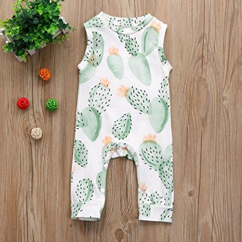 Baby Boys' Girls' Summer Printed Sleeveless Romper Outfits Long Bodysuit Clothes