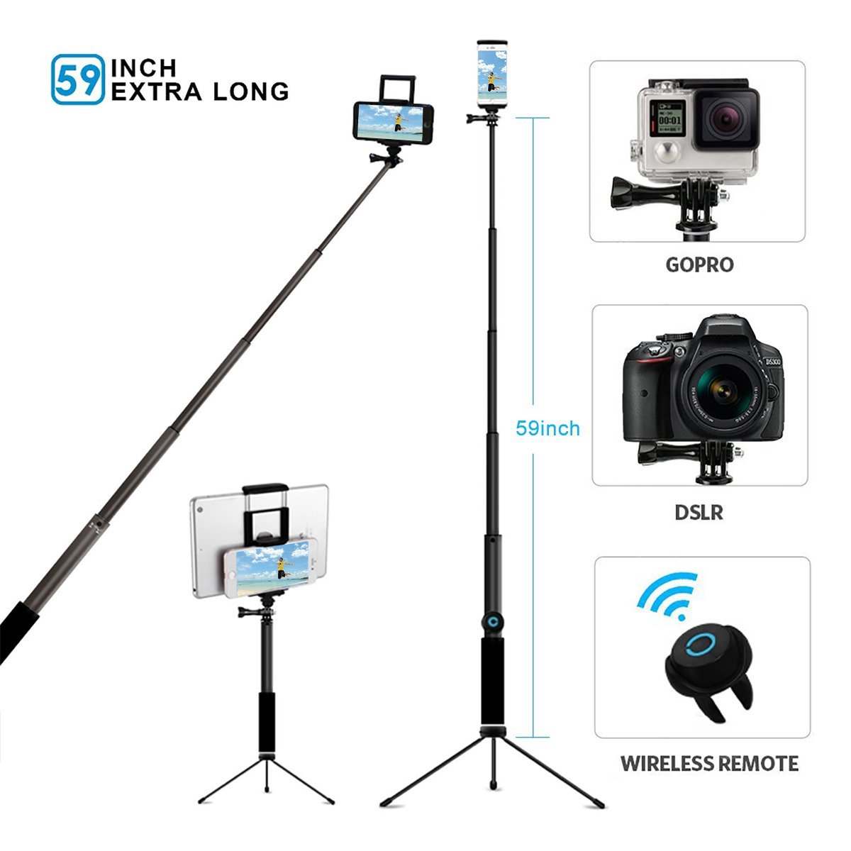 Selfie Stick Tripod with Remote,Hizek 59 Inch Extendable Monopod Shutter Remote 270°Rotation Phone Holder for iPhone X/8/7/6/5/Plus,Samsung S7/S8,Tablet,iPad,Android