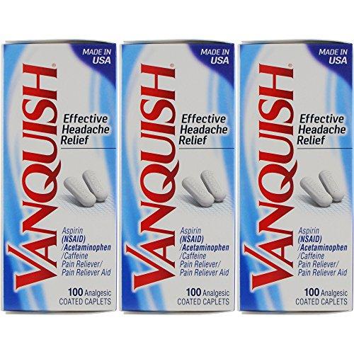 Vanquish Headache Relief, Acetaminophen, Aspirin, & Caffeine, 100 Caplets (Pack of 3)