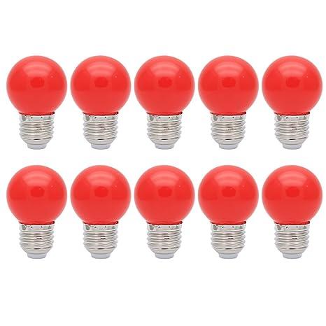 10X E27 Bombilla de Color 1W Bombilla Rojo Color Bombilla LED 100LM Ahorro de Energía Conveniente