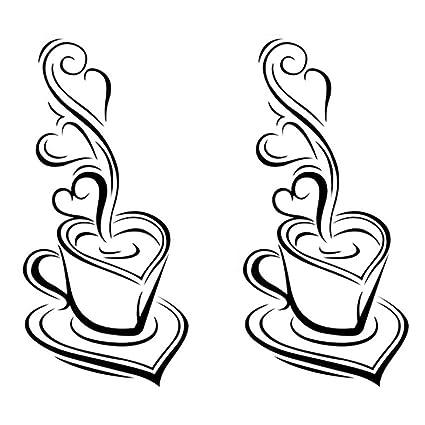 Amazon Com Okdeals 2 Pcs Diy Removable Home Kitchen Decor Coffee