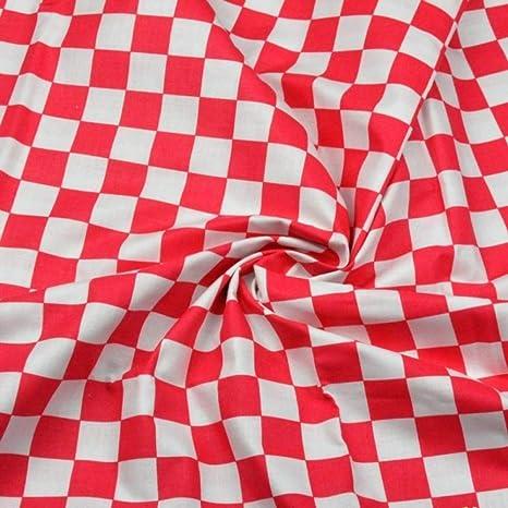 Tela de algodón 100% con triángulos y rombos, para niños, se vende por metros, artesanía, costura de tela, 100 x 160 cm, 1 metro Cuadrado rojo y blanco.: Amazon.es: Bebé