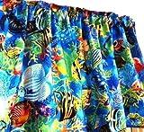 Fish Curtains for Windows Tropical Blue Fish Window Curtain Valance Handmade Cotton Fabric
