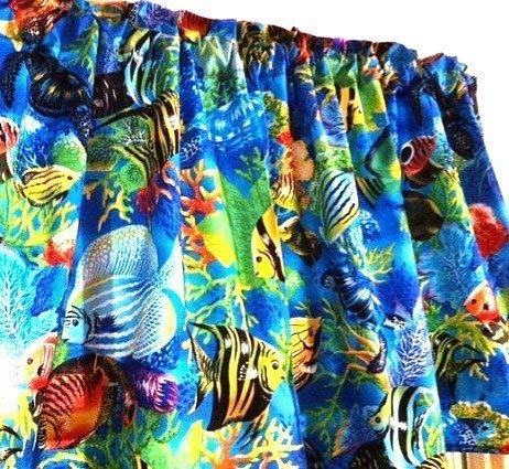 Tropical Blue Fish Window Curtain Valance Handmade Cotton Fabric