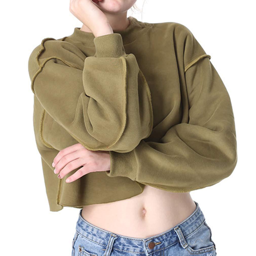 Damen Sweatshirts Gro/ße Gr/ö/ßen Fleece-Innenseite Tops Baggy Shirt L/ässig Rundhals Einfarbig Kurzer Sportbekleidung mehrere Farbe