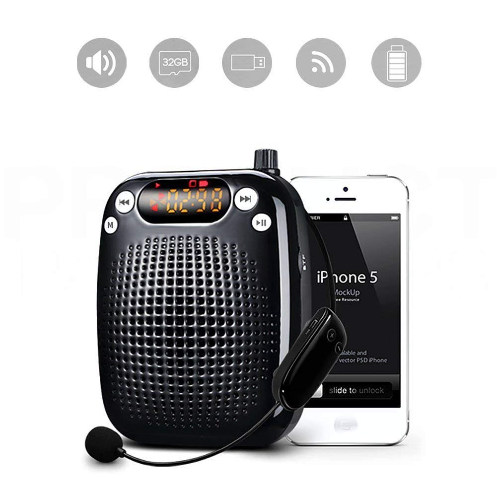 Wireless Voice Amplifier Microphones and Speakers with FM Radio Support TF card USB Drive Versatile Portable Personal Amplifier for Teachers