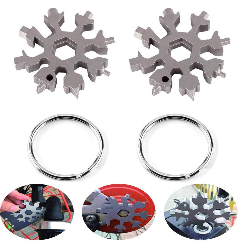 2 Pack 18-in-1 Stainless Snowflake Multi-tool Card, Outdoor Portable Keychain Screwdriver, Bottle opener for Fix Bicycle Open the Beer Bottle, Christmas Gift … (Silver) BYMYWAY